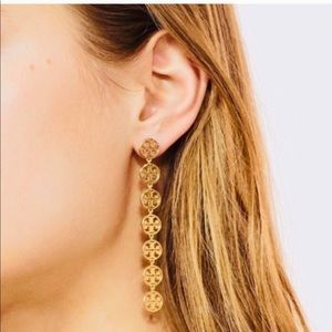New Tory Burch long logo earrings